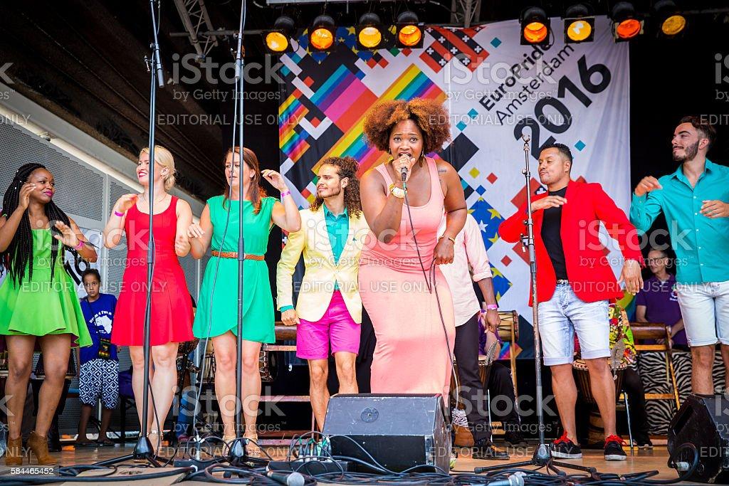 ZO gospel choir performing in Vondelpark for Amsterdam Gay EuroPride stock photo
