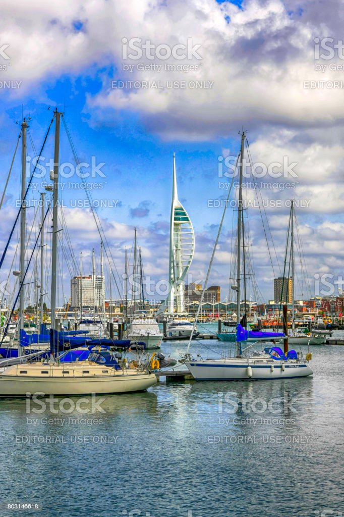 Gosport Harbour and Marina and Portsmouth Spinnaker Tower in Hants, UK stock photo