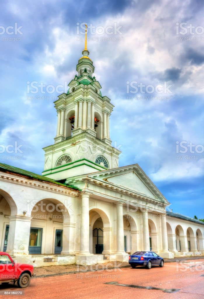 Gostiny Dvor, provincial Neoclassical trading arcades in Kostroma, Russia stock photo