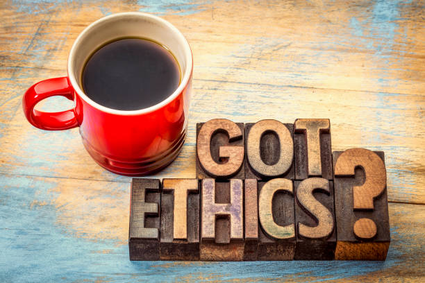 Got ethics question in letterpress wood type stock photo