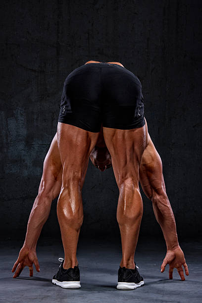 Got Hamstrings? Athlete Showing Hamstring Muscle Development hamstring stock pictures, royalty-free photos & images
