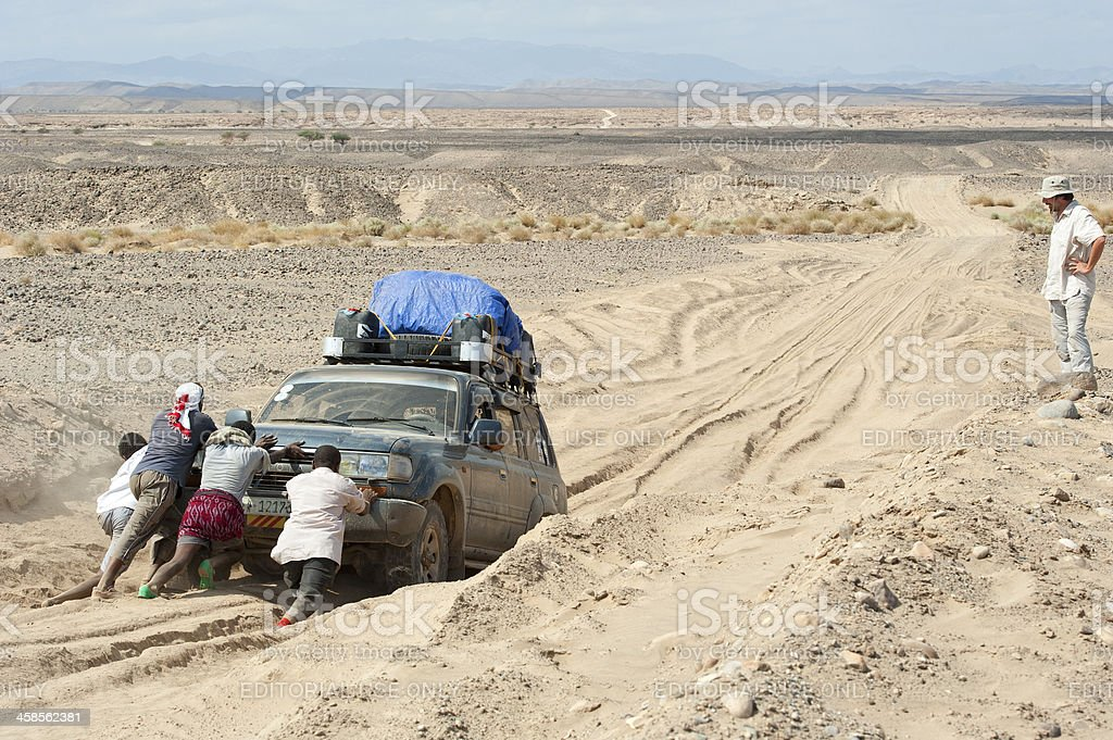 4WD got stucked in the Danakil desert, Ethiopia. stock photo
