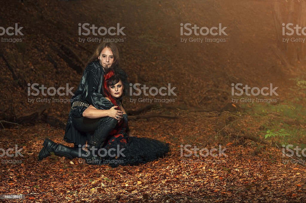 Goth couple Goth couple in nature Adult Stock Photo