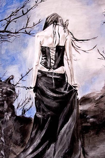 goth woman in chains - gothic bilder stock-fotos und bilder