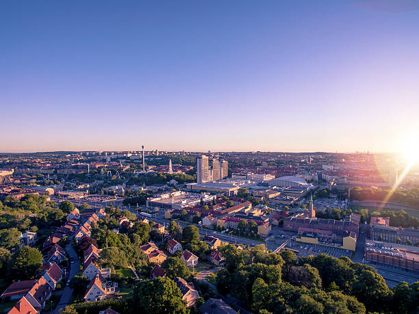 Gothenburg Aerial View in Sunset stock photo
