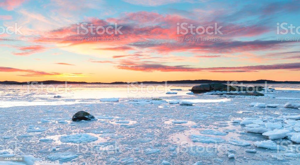 Gothenburg archipelago Ice floe sunset stock photo