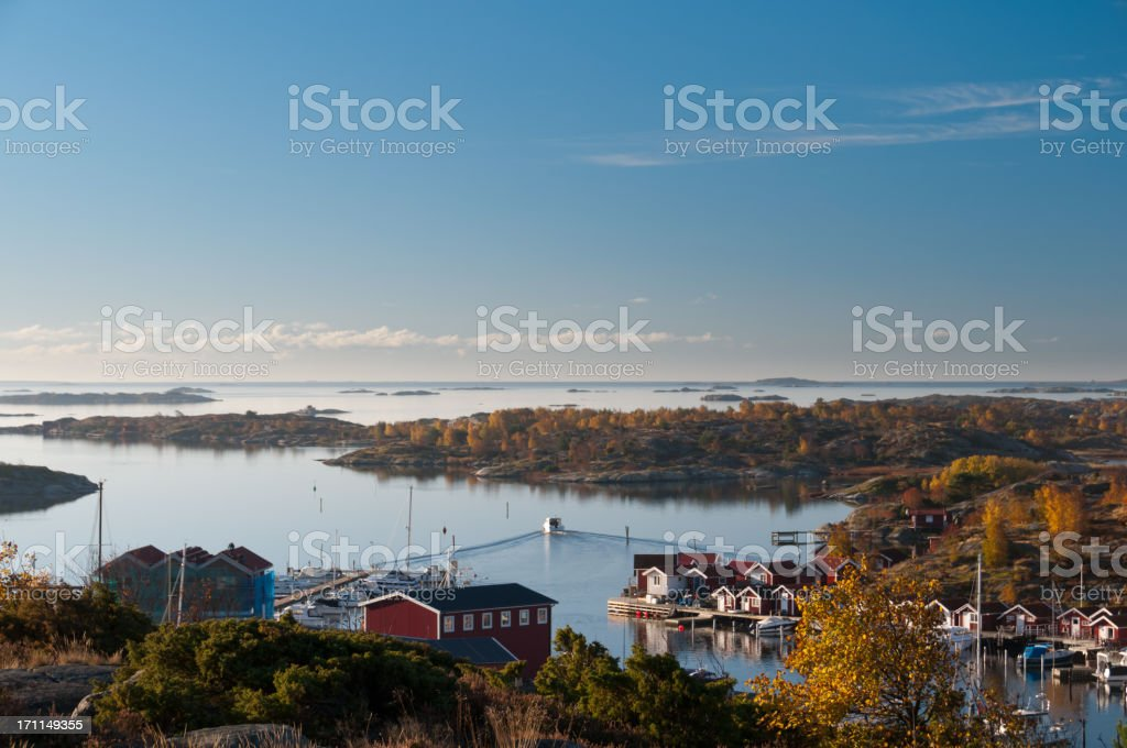 Gothenburg archipelago in hazy morning light royalty-free stock photo