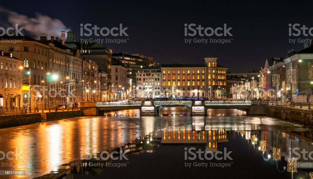 Gothenburg big canal stock photo