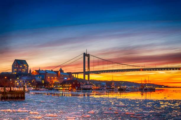 Gothenburg bridge in winter sunset stock photo