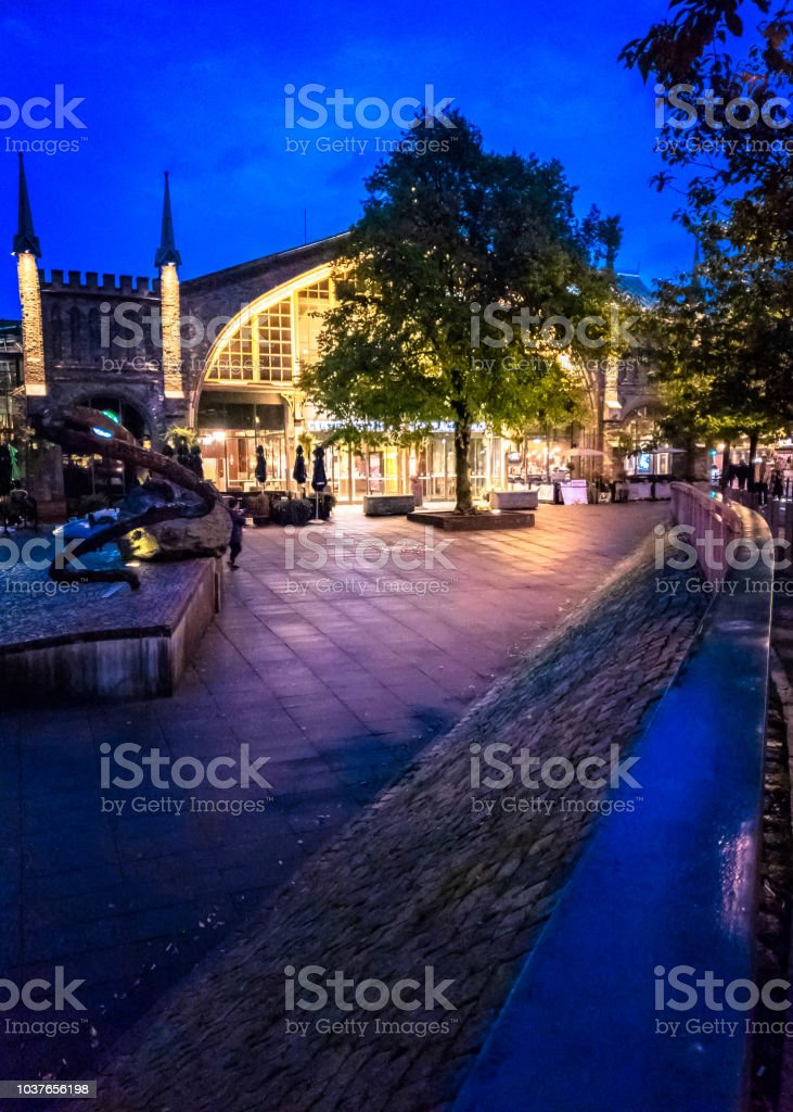 Gothenburg centralstation  during blue hour. stock photo
