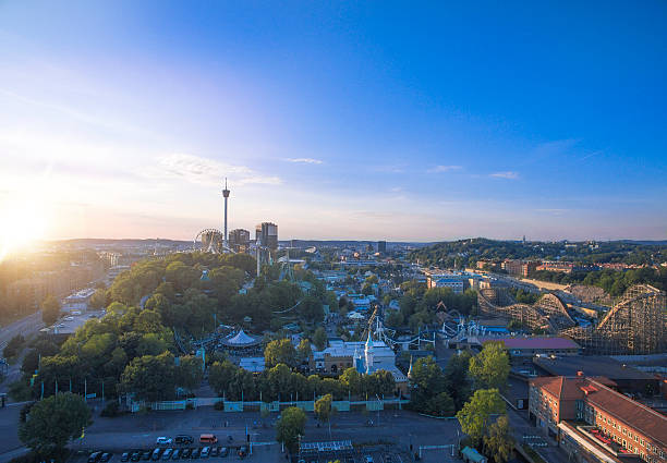 Gothenburg City Aerial View in Sunset stock photo