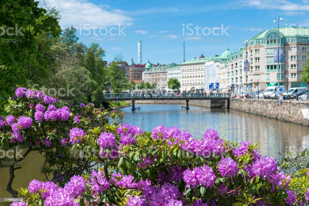 Gothenburg city canal stock photo