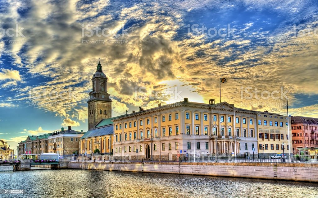 Gothenburg city hall and the German Church - Sweden stock photo