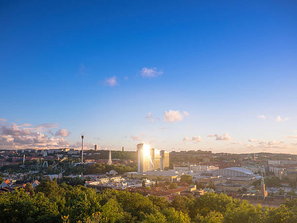 Gothenburg City Sweden Aerial View in Sunset stock photo