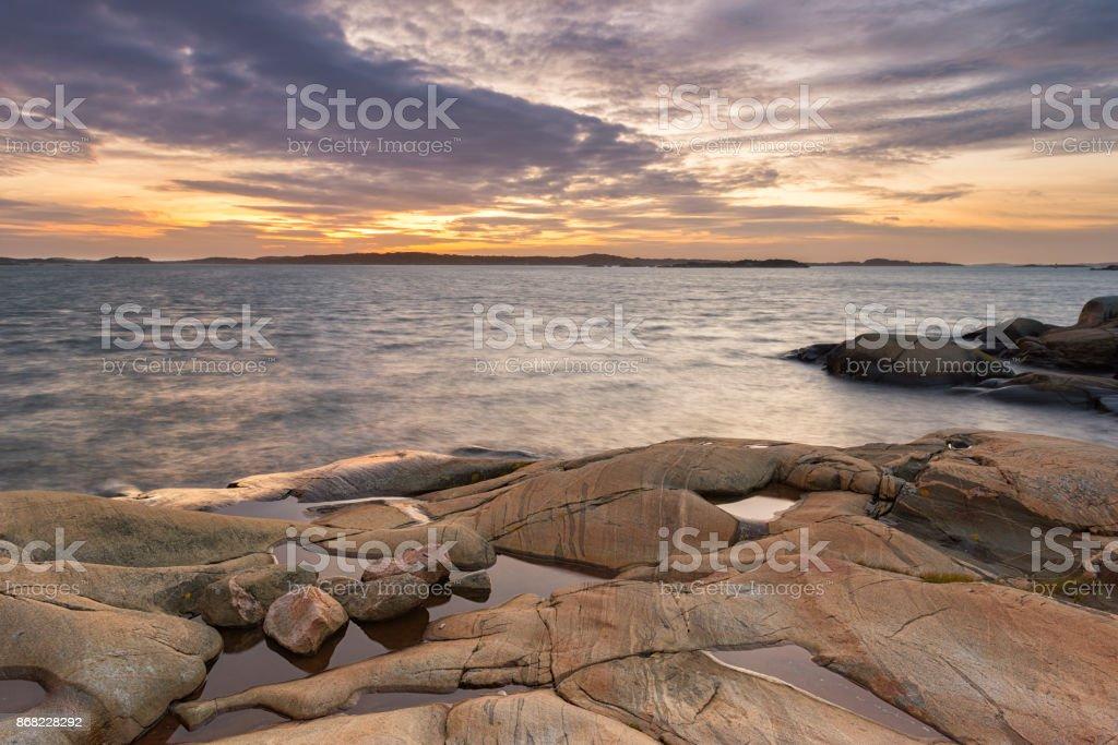 Gothenburg coast sunset stock photo