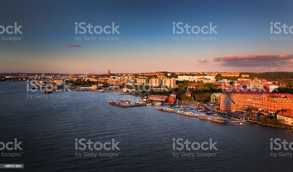 Gothenburg during sunset stock photo