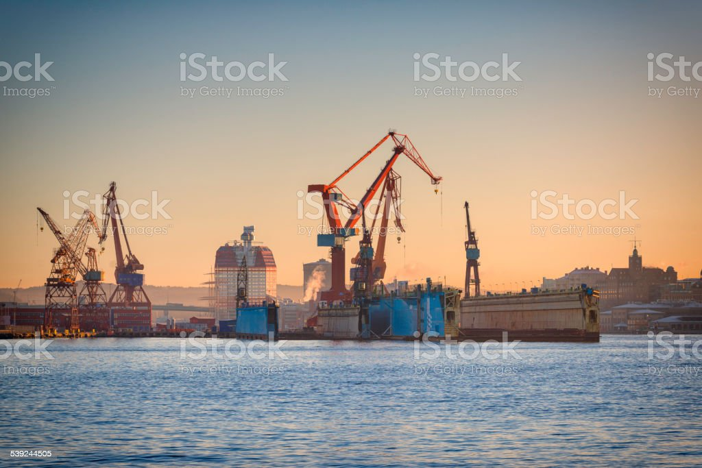 Gothenburg harbor. Dry dock and cranes stock photo