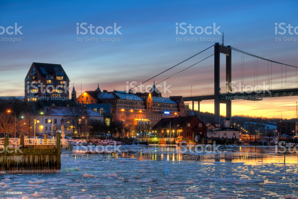 Gothenburg harbor in winter stock photo