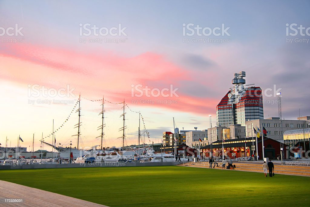 Gothenburg harbor with beautiful red clouds stock photo