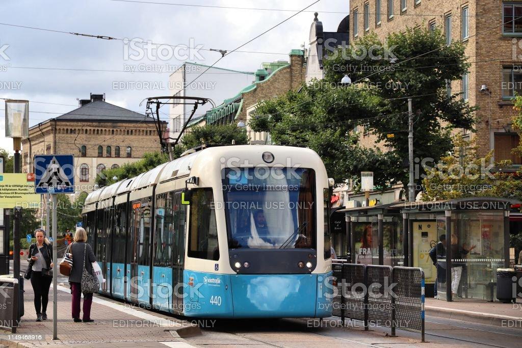 Blue tram in Gothenburg, Sweden. Gothenburg has largest tram network...