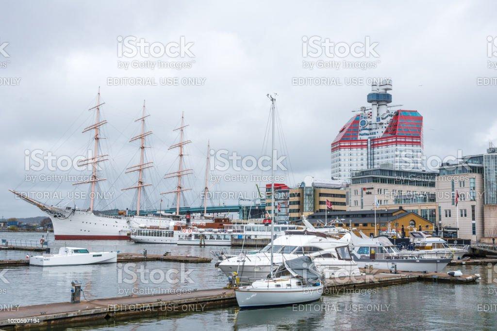 Gothenburg Sweden - sailing ship Viking and the Lipstick tower Skanskaskrapan stock photo