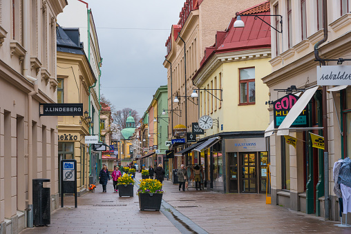 Gothenburg, Sweden - shopping arcade with shops and passers-by