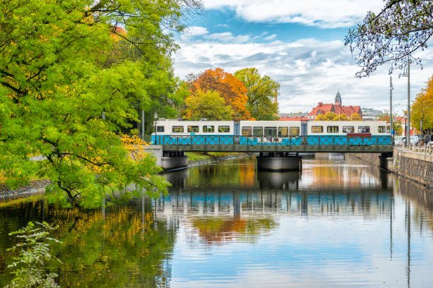 Gothenburg tram on the old bridge stock photo
