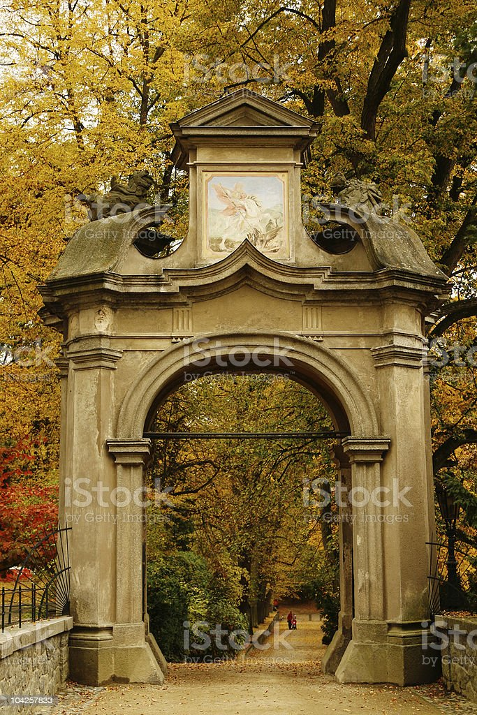 Gothic ancient gate royalty-free stock photo