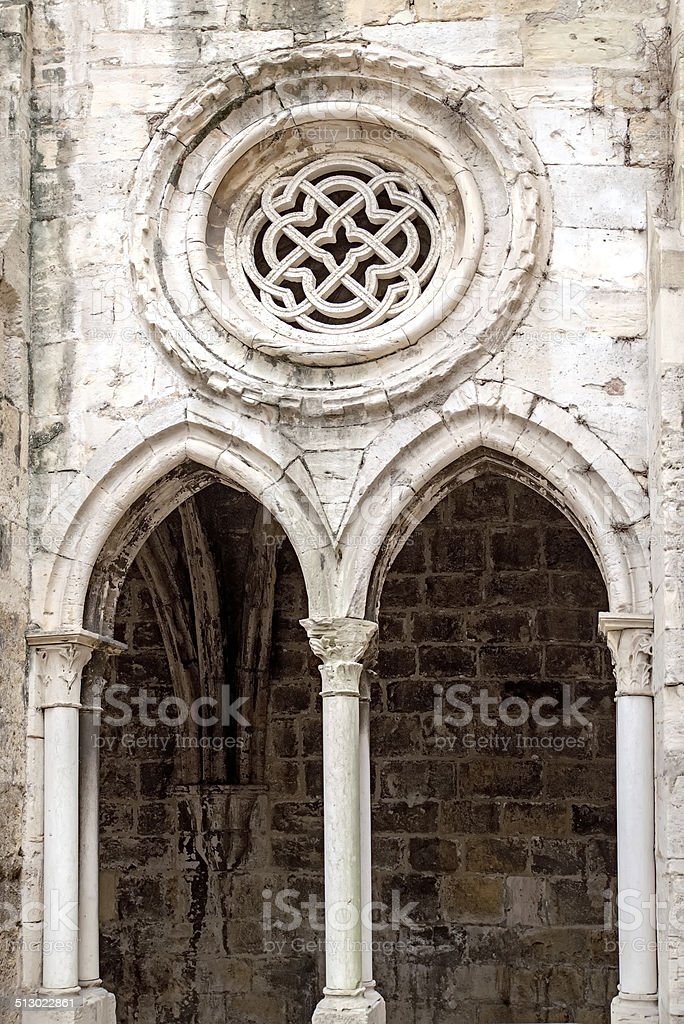 Gothic arches and rose window stock photo