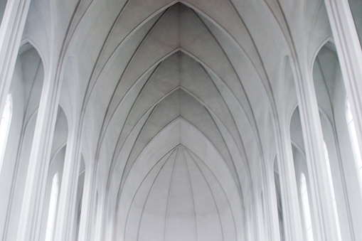 Gothic arches in a modern church (Reykjavik, Iceland). Almost black (grey) and white