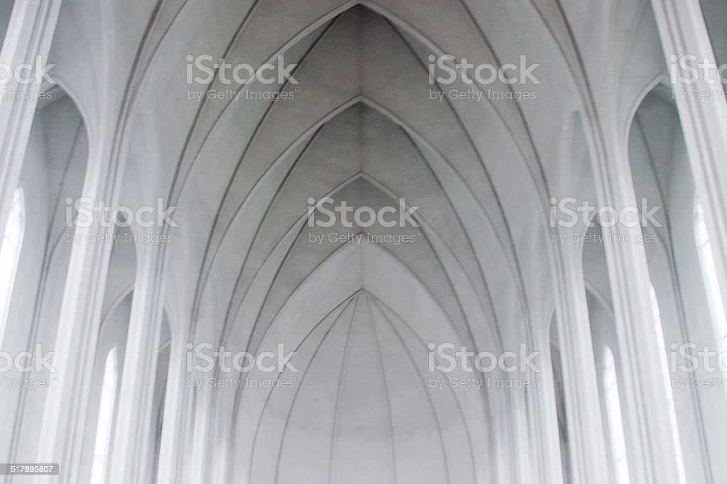 Gothic arches in a modern church stock photo