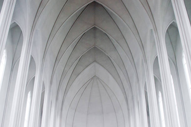gothic arches in a modern church - gothic style stock pictures, royalty-free photos & images