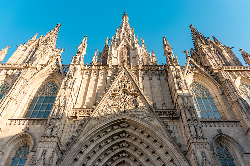 Gothic Barcelona Cathedral at the sunrise, Spain.