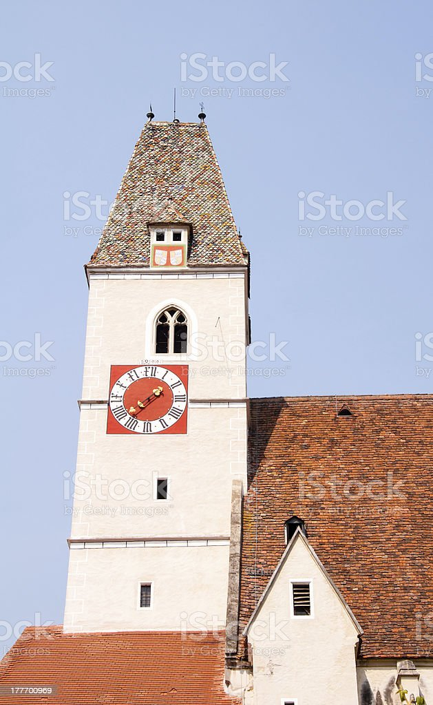 gothic bell tower of church in spitz, austria royalty-free stock photo