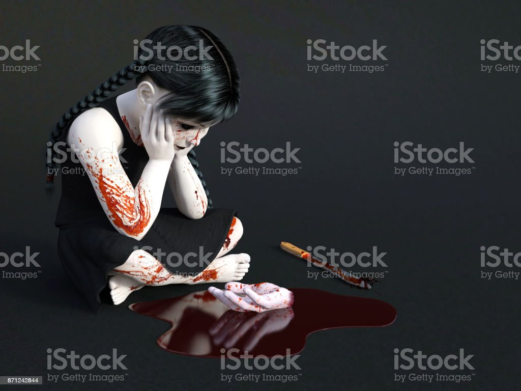 A gothic blood covered small girl sitting on the floor. stock photo
