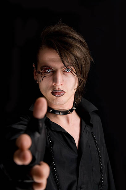 Gothic Boy With Artistic Make Up Stock Photo