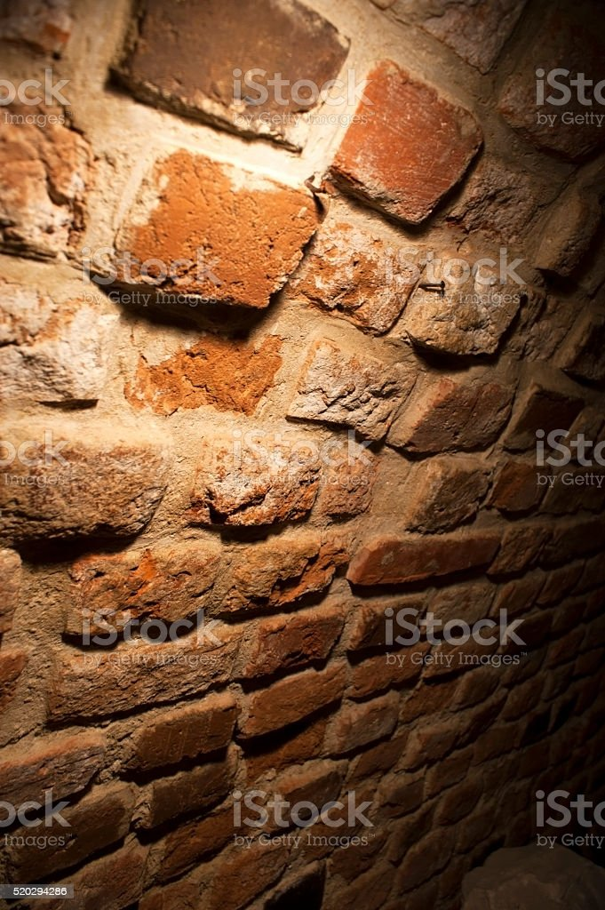 Gothic Brick Wall Inside The Dungeon Royalty Free Stock Photo