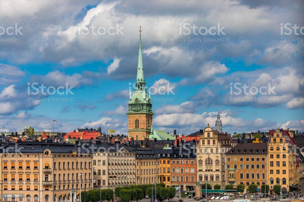 Gothic buildings in Kornhamnstorg square in Stockholm old town Gamla Stan in Sweden stock photo