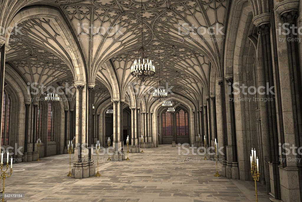 Gothic Cathedral Interior 3d Illustration stock photo | iStock