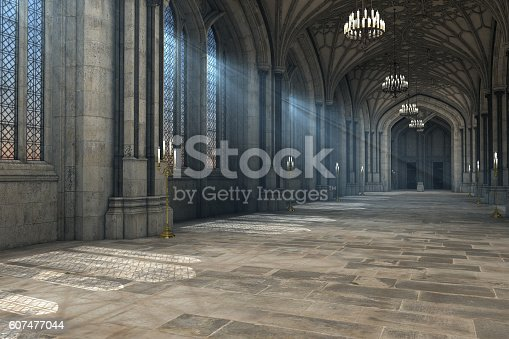 istock Gothic cathedral interior 3d illustration 607477044