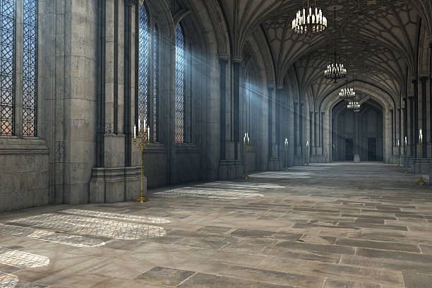 gothic cathedral interior 3d illustration - castle stock photos and pictures