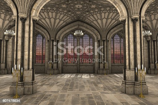 istock Gothic cathedral interior 3d illustration 607478634