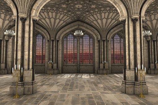 Gothic cathedral interior 3d illustration
