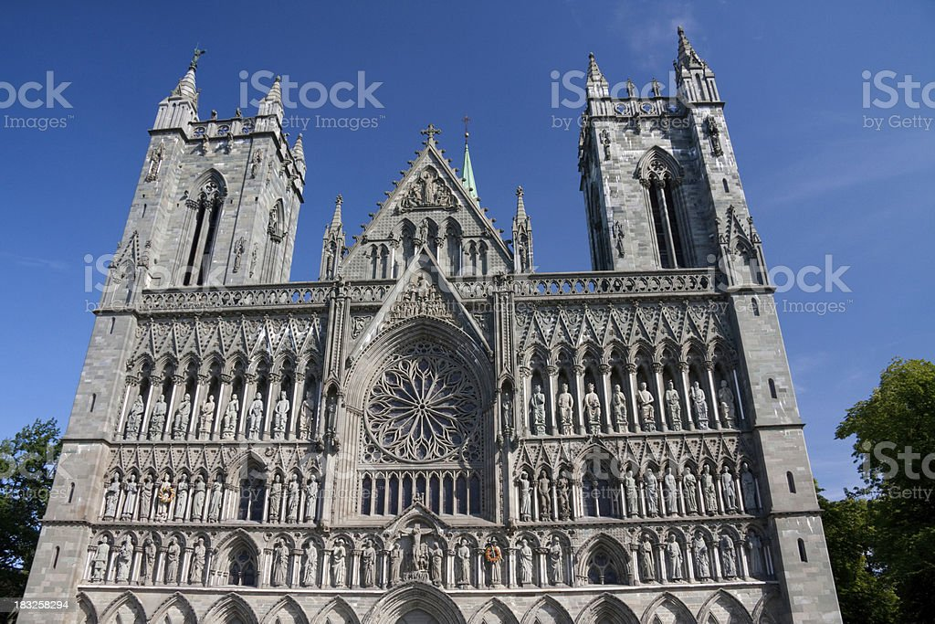 Gothic cathedral of Trondheim stock photo