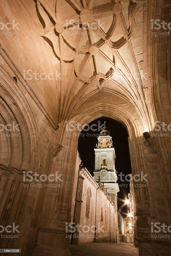 Gothic ceiling and tower of Lugo cathedral, Spain stock photo