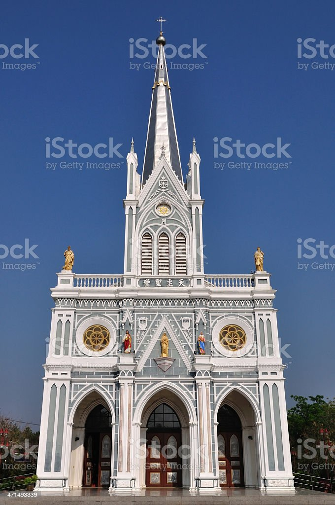 Gothic Chruch, over 100 years old church in Ratchaburi province, royalty-free stock photo