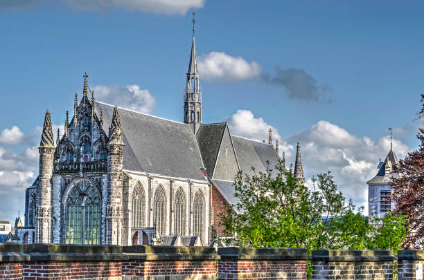 Gothic church as seen from the castle Leiden, The Netherlands, April 25, 2018: View from the Burcht (castle) towards the gothic Hooglandse Kerk leiden stock pictures, royalty-free photos & images