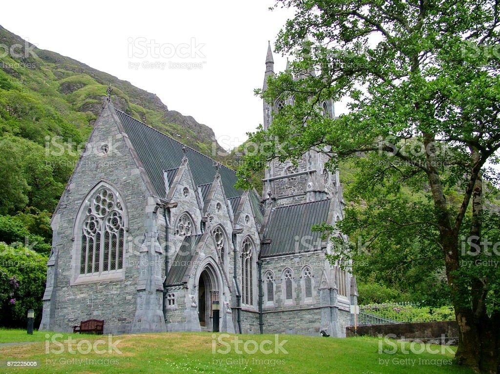Gothic Church at Kylemore Abbey stock photo