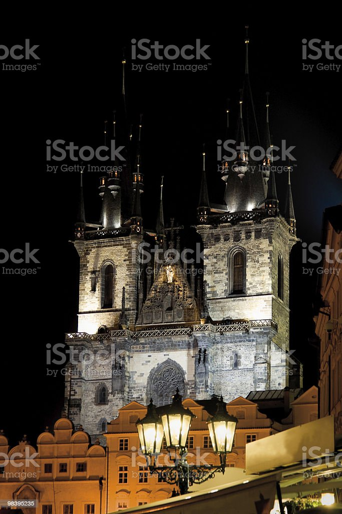 Gothic church at night royalty-free stock photo