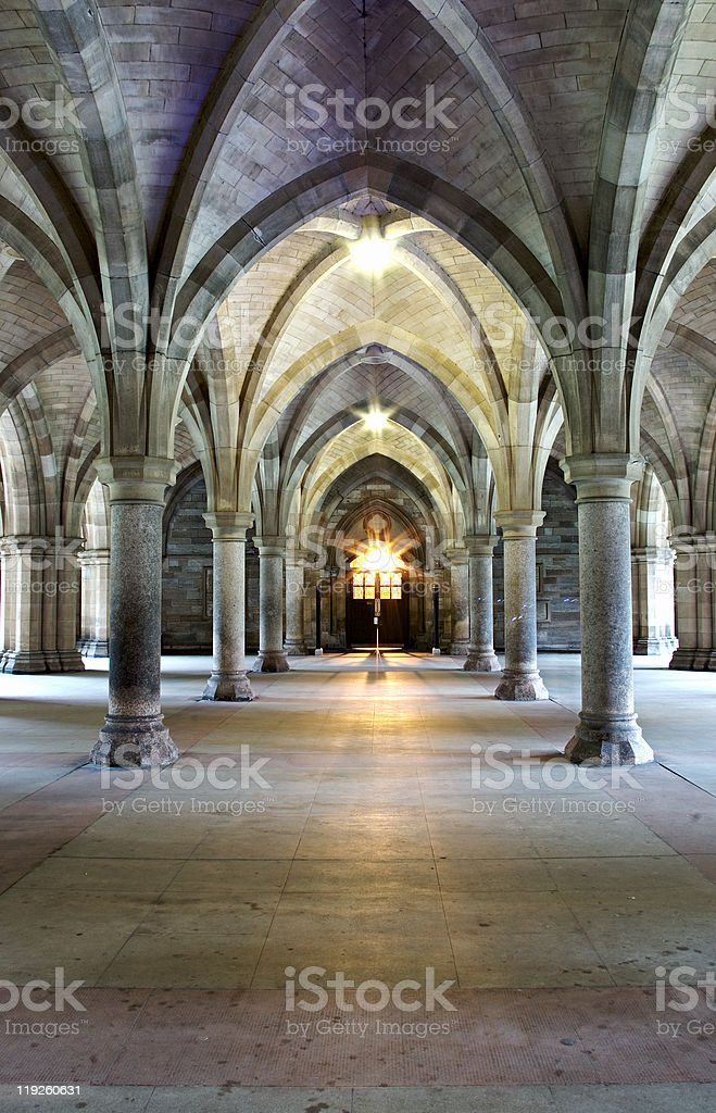 Gothic church cloisters stock photo